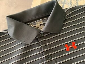 Under Armour Boys Youth M YMD Loose Striped Polo Golf Shirt Athletic $10.00
