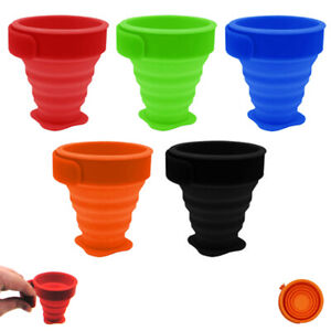 5 Pc Portable Cups Folding Silicone Drinking Telescopic Collapsible Travel Camp