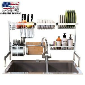 US Kitchen Over Sink Shelf Rack Drying Drain Storage Cutlery Holder Plate Dish