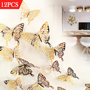 12pcs 3D Butterfly Wall Stickers Art Decals Home Room Decorations Decor US $7.98