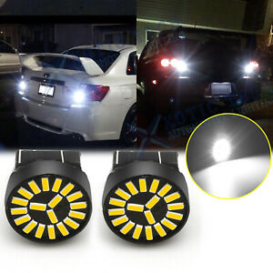 White 7440 7441 LED Back Up Reverse Light Bulbs For Honda Accord Civic Odyssey