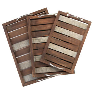 3pc Cheung's Wood Food Serving Tray Set Galvanized Metal Accents Rustic Décor