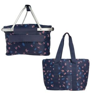 2pc Set Large Insulated Picnic Basket And Tote Bag With Pockets Zipper For Women