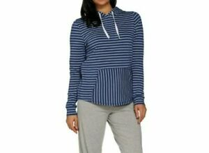 AnyBody Cozy Knit Light French Terry Hoodie Indigo Stripe Large NEW A306955