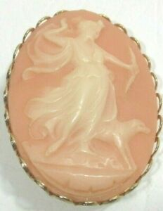 Vintage Diana Bow Hunting With Dog Grey Oval Gold Tone Pink CAMEO Pin Brooch