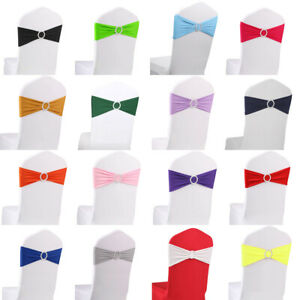 10 20 50 100 Spandex Chair Bands With Buckle Wedding Banquet Chair Sashes