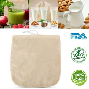 100% Organic Cotton Nut Milk Bag Reusable Food Strainer Brew Coffee Cheese Cloth