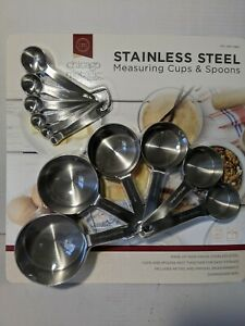 New Chicago Metallic Stainless Measuring Cups + Measuring Spoons Set 12Pc