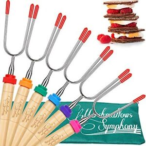 Campfire Roasting Sticks Marshmallow And Hot Dog - Set Of 6 Telescopic Smores