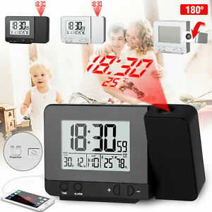 Digital Projection Alarm Clock Weather Thermometer Calendar LCD Display Snooze