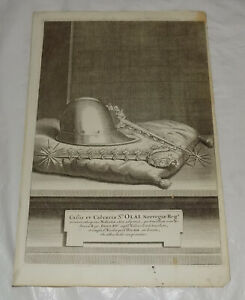 c1710 Swedish Antique Print NORWEGIAN HELMET AND SPURS