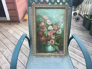 Antique Pink Rose Lithograph Print In Beautiful Frame Roses No Painting