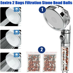 3 Mode High Pressure Shower Head Ionic Filtered Stone Stream Water Saving