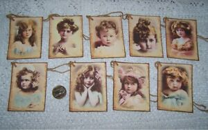 9-Vintage~Girls~French Labels~Ephemera~Fussy Cut~Linen Cardstock~Gift~Hang~Tags