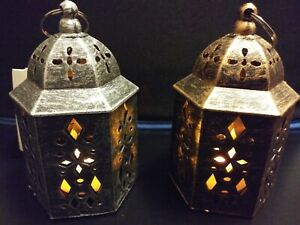 Lanterns LED Battery Operated On/Off Switch 5.2 in Height 2 Piece Set