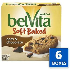 belVita Soft Baked Oats & Chocolate Breakfast Biscuits, 6 Boxes of 5 Packs