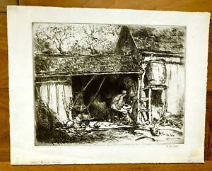 ORIG. GEORGE HAND WRIGHT 1860 1942 ETCHING C.1900 quot;THE TIRED MANquot; SEE BACK $139.99