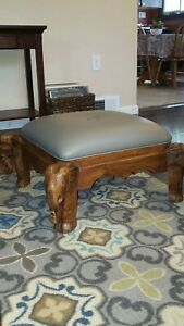 Anique Newly reupholsted.Ride On Elephant Foot rest. Lounge Seat Foot Rest Stool