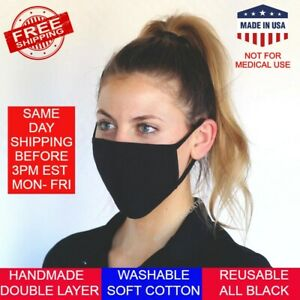 Washable Reusable Face Mask Double Layer Breathable Cotton Black - Made in USA