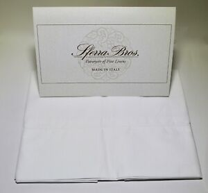 SFERRA 100% Long Staple Cotton Solid White Percale Italian Standard Pillowcases