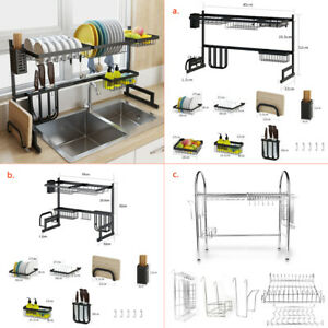 Over Sink Dish Rack Stainless Steel Kitchen Shelf Drying Drainer Large 85-65cm