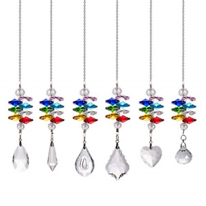 Crystal Prisms Ball Hanging Glass Pendant Ornament Garden Decor Pack of Six