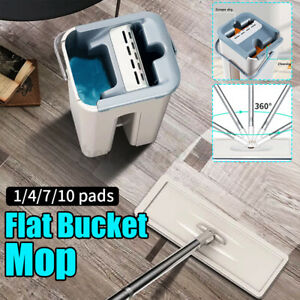 Self Cleaning Drying Wringing Mop Bucket System Flat Floor Free Hand Wash Mop