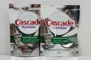Cascade Platinum Dishwasher Cleaner 2 Fresh Scent Packs One Per Pack LOT of 2 $8.99