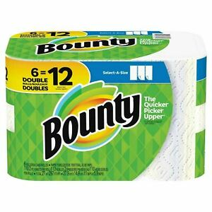 Bounty Select-A-Size Paper Towels White 6 Double Rolls = 12 Regular Rolls