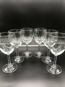 Vintage Wine Glass Set of 6 Clear Glass Stemmed 7.5quot; $39.99