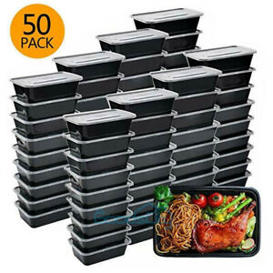 50 Pack Meal Prep Containers Reusable Food Storage Disposable Plastic Lunch Box $25.99