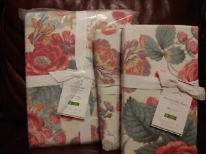 3pc Pottery Barn Elia Duvet Cover Set Pink Rose King 2 King Shams Floral NEW