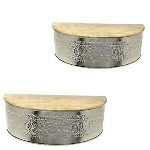 Embossed Metal Floating Wall Shelves with Hidden Compartment and Wooden Tops