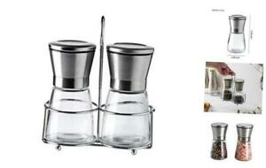 Salt and Pepper Grinder Set with Stand-Premium Quality Stainless Steel