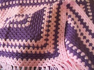 """PINK & PURPLE Crochet Afghan Throw Blanket with fringe_38"""" X 40_NEW"""""""