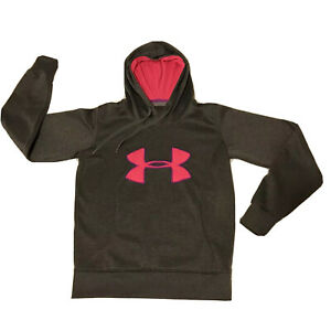 Women's Under Armour Hoodie Grey And Pink Large Logo Sz Small Semi Fitted Storm $6.00