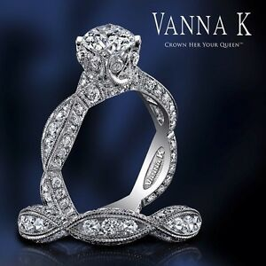 DREAMY DESIGN Vanna K Round Brilliant Semi Mount; PLATINUM G VS. Any Size Center
