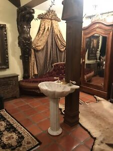 Sherle Wagner Marble Gorgeous Stunning Pedestal Sink With Faucet. MSRP $24500.