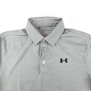 Under Armour Heat Gear Mens Gray Golf Polo Horizontal Striping Loose Fit Size S $21.51