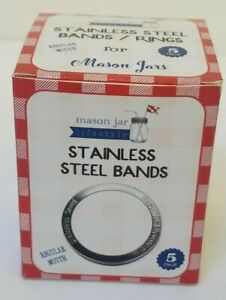 Canning Jar Wide Mouth Rings Bands Stainless Steel (1 box = 5 Rings) Mason Bell