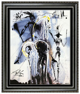 Salvador Dali Don Quixote Limited Edition Glazed Ceramic Tile Signed Surreal Art $519.95