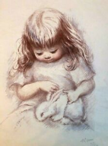 """Marilyn Zapp Signed Lithograph Print """"Girl With Rabbit"""