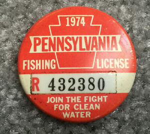 Vintage 1974 Pennsylvania PA Fishing License Button Pin Pinback Resident Red quot;Rquot;