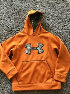 Youth Medium Under Armour Hoodie Orange Camouflage Loose Fit Polyester $16.00
