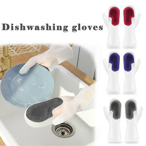 Magic Silicone Dish Washing Gloves Brush Scrubber Kitchen Bathroom Home Cleaning