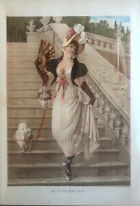 1888 Fine Chromolithograph of Victorian Woman w Fan featherd hat and Poodle $14.99