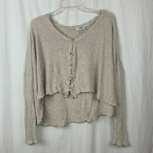 Out From Under Womens Long Sleeve Crop Cream High Low Blouse Size M $18.00