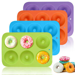 6 Cavity Silicone Donut Mold Doughnut Maker Non Stick Chocolate Muffin Pan Tray