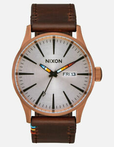 Nixon Men's Sentry A1053173 00 42mm Silver Dial Leather Watch