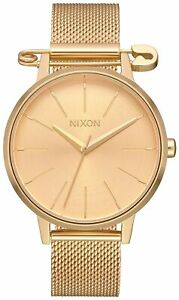 Nixon Women's Kensington A12293223 00 37mm Gold Dial Mesh Watch